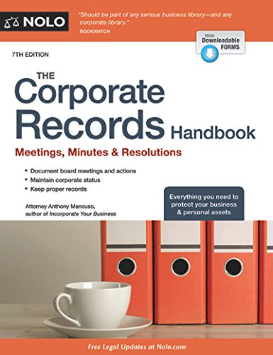 9781413322590: Corporate Records Handbook, The: Meetings, Minutes & Resolutions