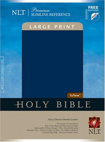 9781414307107: Holy Bible: New Living Translation, TuTone Navy/Chestnut Bonded Leather Premium Slimline Reference (Book only)