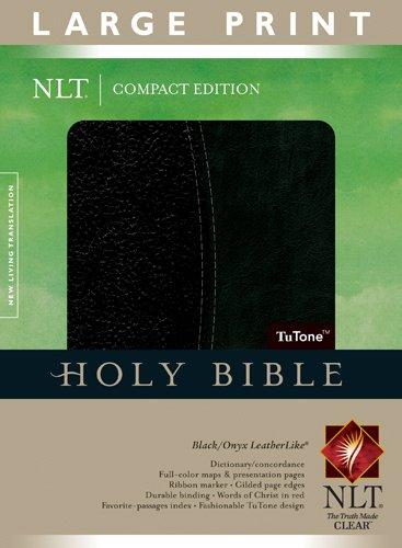 9781414337586: Compact Edition Bible NLT, Large Print, TuTone (LeatherLike, Black/Black, Indexed)