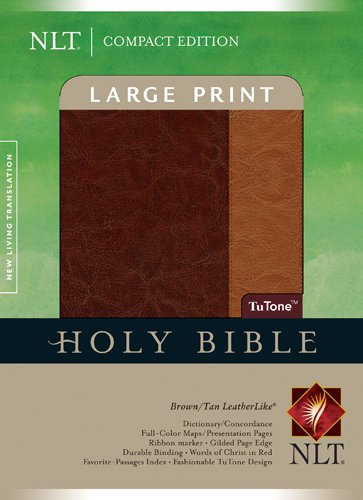 9781414337593: Compact Edition Bible NLT, Large Print, TuTone (LeatherLike, Brown/Tan, Indexed)