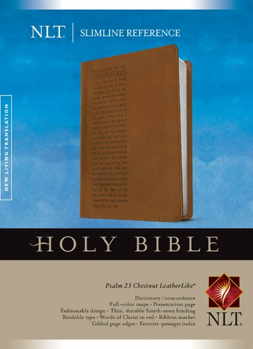9781414338675: Slimline Reference Bible NLT (LeatherLike, Chestnut/Brown)