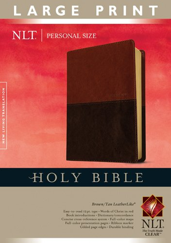 9781414368337: Holy Bible NLT, Personal Size Large Print edition, TuTone (LeatherLike, Brown/Tan, Indexed)