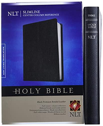 9781414391083: Slimline Center Column Reference Bible NLT (Bonded Leather, Black)