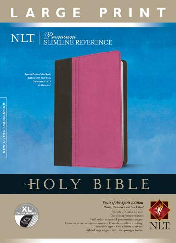 9781414397658: Premium Slimline Reference Bible NLT, Large Print, TuTone (LeatherLike, Pink/Brown, Indexed)