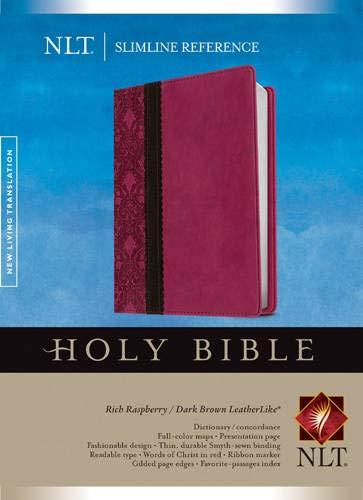 9781414397696: Slimline Reference Bible NLT, TuTone (LeatherLike, Rich Raspberry/Brown/Dark Brown)