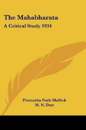 9781417982103: The Mahabharata: A Critical Study 1934