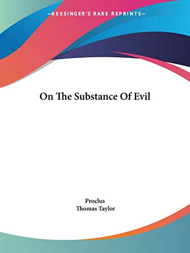 9781417987146: On The Substance Of Evil