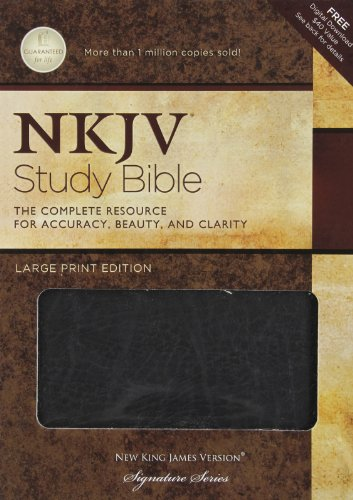 9781418542092: NKJV Study Bible, Large Print, Bonded Leather, Black: Large Print Edition