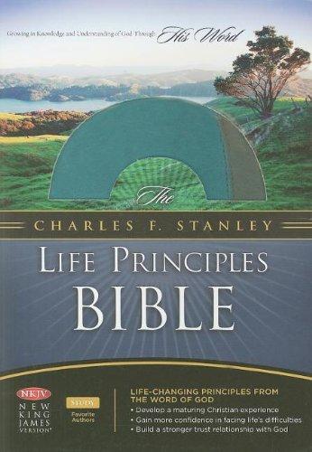 9781418542313: The Charles F. Stanley Life Principles Bible, NKJV (teal/charcoal)