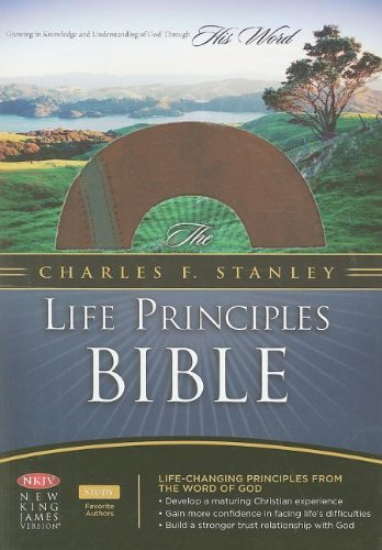 9781418542337: The Charles F. Stanley Life Principles Bible: New King James Verison, Brown/charcoal, Bonded Leather