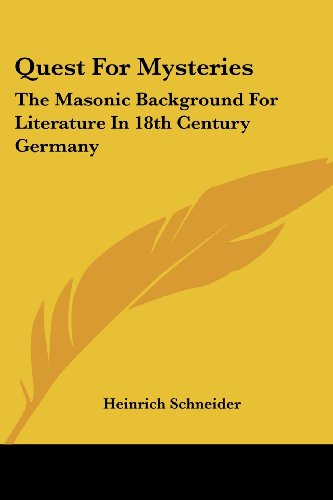 9781419182143: Quest for Mysteries: The Masonic Background for Literature in 18th Century Germany