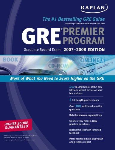 9781419551338: Kaplan GRE Exam 2007-2008 Premier Program (w/ CD-ROM)