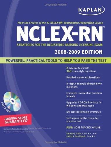 9781419551819: Kaplan NCLEX-RN Exam 2008-2009 with CD-ROM: Strategies for the Registered Nursing Licensing Exam