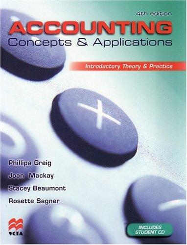 Accounting Concepts and Applications: Joan Mackay