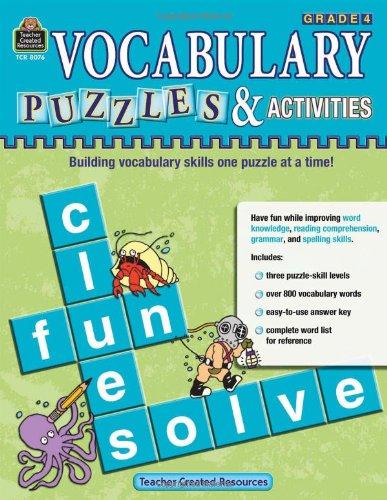 9781420680768: Vocabulary Puzzles & Activities, Grade 4