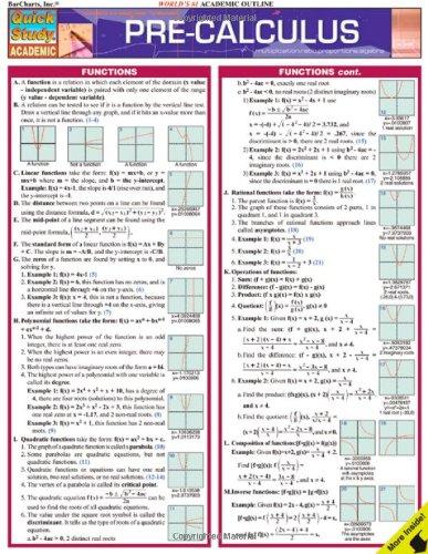 9781423202486: Pre-Calculus (Quick Study Academic)