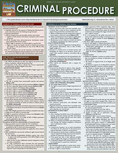 Criminal Procedure (Quick Study Law): BarCharts Inc
