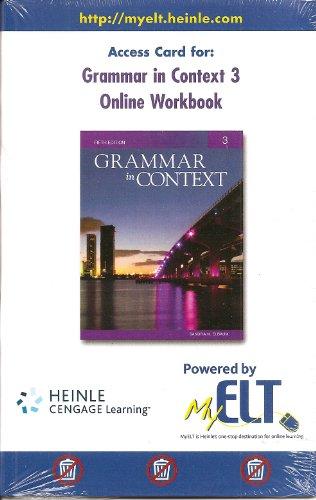 9781424082599: Grammar in Context 3 Online Workbook Access Card, Fifth Edition (MyELT Access Code)