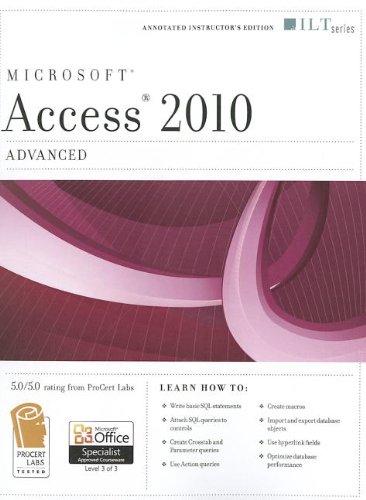 9781426021510: Microsoft Access 2010, Advanced [With CDROM] (ILT)