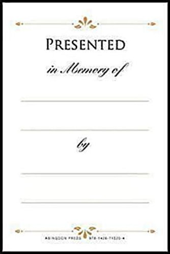 9781426715204: Presented in Memory of Bookplates (Pkg of 48)