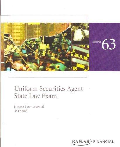 9781427769565: Kaplan Series 63 Uniform Securities Agent State Law Exam (License Exam Manual)