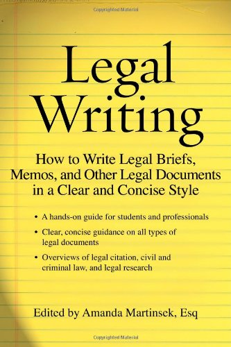 9781427798435: Legal Writing: How to Write Legal Briefs, Memos, and Other Legal Documents in a Clear and Concise Style