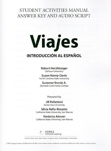 9781428289970: Student Activities Manual/Video, Answer Key, and Audio Script for Hershberger/Navey-Davis/Borrás A.'s Viajes: Introduccion al espanol, Brief Edition