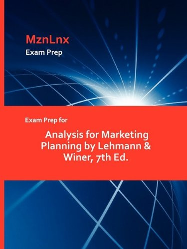 9781428871823: Exam Prep for Analysis for Marketing Planning by Lehmann & Winer, 7th Ed.