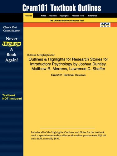 Outlines Highlights for Research Stories for Introductory Psychology by Joshua Duntley, Matthew R. ...