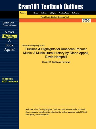 9781428892415: Outlines & Highlights for American Popular Music: A Multicultural History by Glenn Appell, David Hemphill