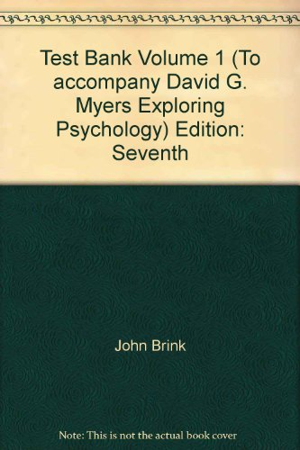9781429201995: Test Bank Volume 1 (To accompany David G. Myers Exploring Psychology)