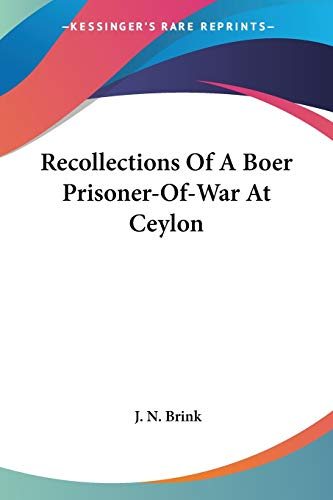 9781430496267: Recollections Of A Boer Prisoner-Of-War At Ceylon