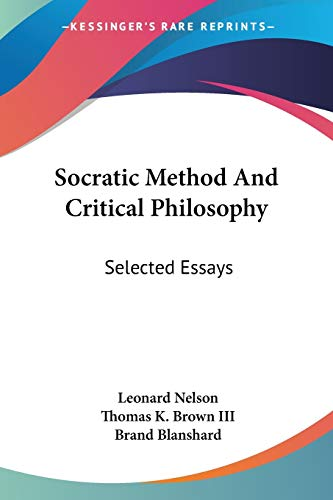 9781432562762: Socratic Method And Critical Philosophy: Selected Essays
