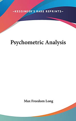 9781432601171: Psychometric Analysis