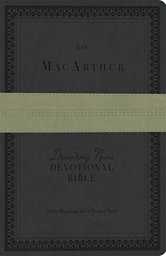 9781433538728: ESV MacArthur Drawing Near Devotional Bible (TruTone, Charcoal/Sage, Trail Design)