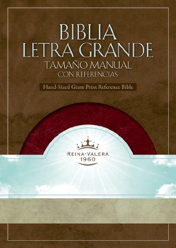 RVR 1960 Biblia Letra Grande Tamaño Manual con Referencias, borravino/perlado sí...