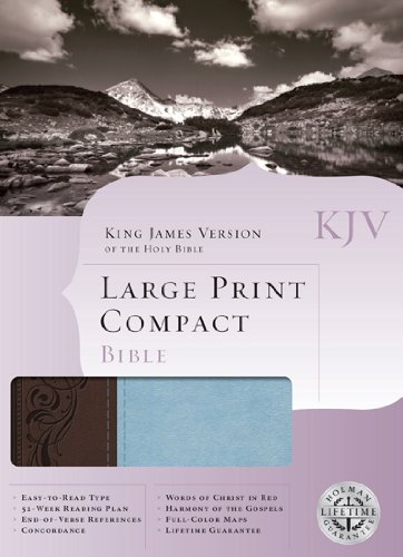 9781433602245: KJV Large Print Compact Bible, Brown/Blue LeatherTouch