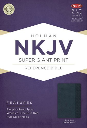 9781433604881: NKJV Super Giant Print Reference Bible, Slate Blue LeatherTouch
