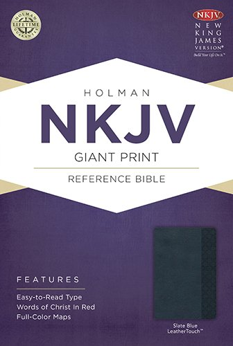 9781433604898: NKJV Giant Print Reference Bible, Slate Blue LeatherTouch