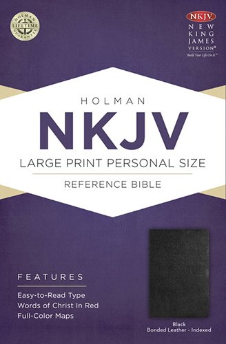9781433605000: NKJV Large Print Personal Size Reference Bible, Black Bonded Leather Indexed