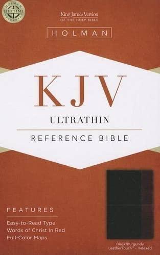 9781433605338: KJV Ultrathin Reference Bible, Black/Burgundy LeatherTouch Indexed