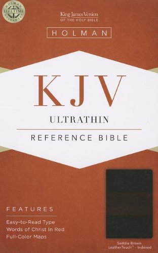 KJV Ultrathin Reference Bible, Saddle Brown LeatherTouch Indexed: Holman Bible Publishers