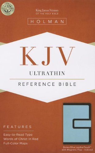 9781433605390: KJV Ultrathin Reference Bible, Brown/Blue LeatherTouch with Magnetic Flap Indexed