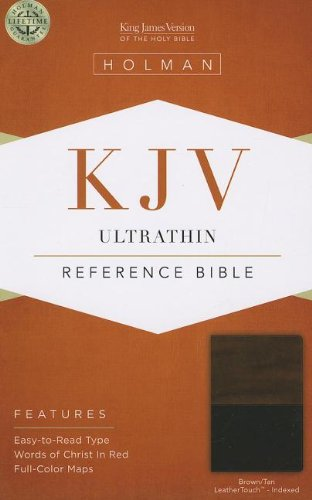 KJV Ultrathin Reference Bible, Brown/Tan LeatherTouch Indexed