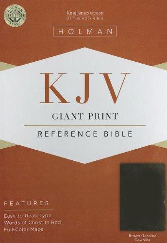 KJV Giant Print Reference Bible, Brown Genuine Cowhide