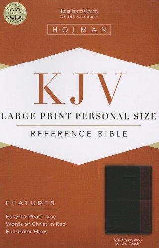 9781433605970: KJV Large Print Personal Size Reference Bible, Black/Burgundy LeatherTouch