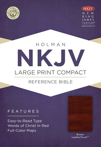 9781433606427: NKJV Large Print Compact Reference Bible, Brown LeatherTouch with Celtic Cross