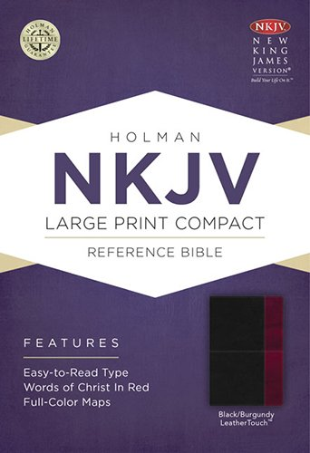 9781433606496: NKJV Large Print Compact Reference Bible, Black/Burgundy LeatherTouch