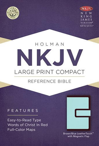 NKJV Large Print Compact Reference Bible, Brown/Blue LeatherTouch with Magnetic Flap