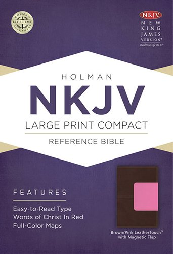 9781433606540: NKJV Large Print Compact Reference Bible, Brown/Pink LeatherTouch with Magnet Flap